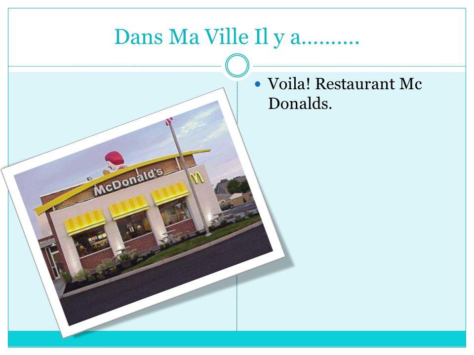 Dans Ma Ville Il y a………. Voila! Restaurant Mc Donalds.