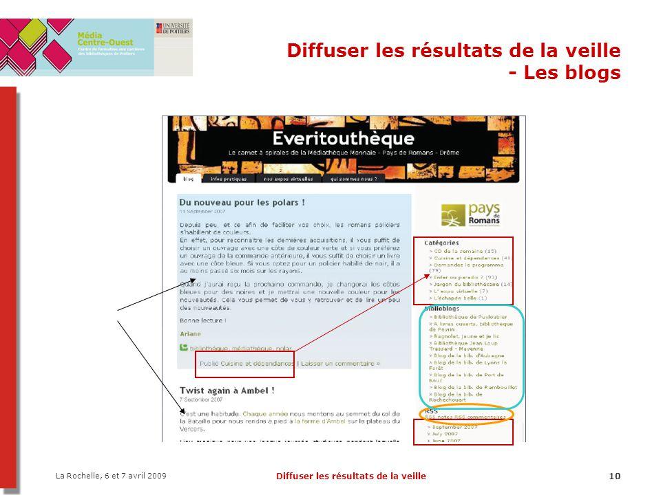 La Rochelle, 6 et 7 avril 2009 Diffuser les résultats de la veille10 Diffuser les résultats de la veille - Les blogs