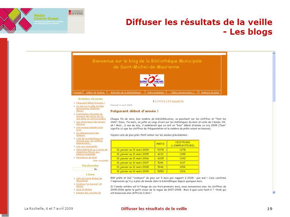 La Rochelle, 6 et 7 avril 2009 Diffuser les résultats de la veille19 Diffuser les résultats de la veille - Les blogs