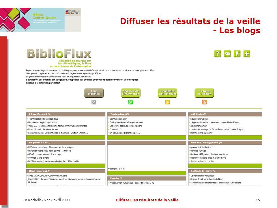 La Rochelle, 6 et 7 avril 2009 Diffuser les résultats de la veille35 Diffuser les résultats de la veille - Les blogs