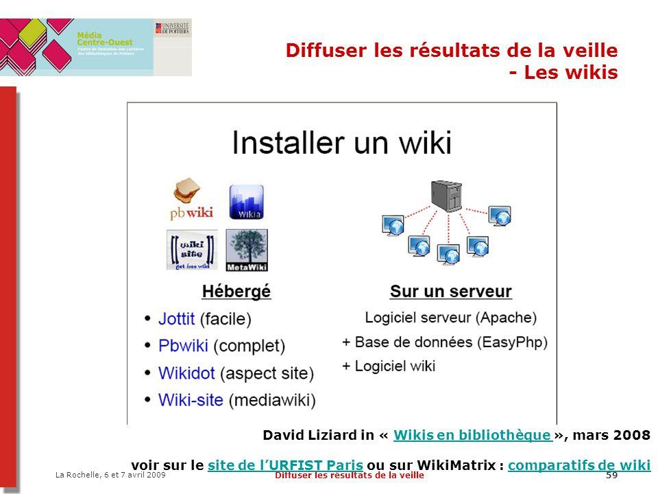 La Rochelle, 6 et 7 avril 2009 Diffuser les résultats de la veille59 Diffuser les résultats de la veille - Les wikis David Liziard in « Wikis en bibli