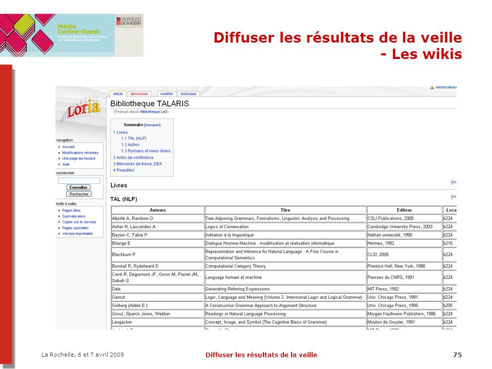 La Rochelle, 6 et 7 avril 2009 Diffuser les résultats de la veille75 Diffuser les résultats de la veille - Les wikis