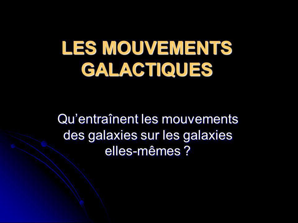 LES MOUVEMENTS GALACTIQUES Quentraînent les mouvements des galaxies sur les galaxies elles-mêmes ?