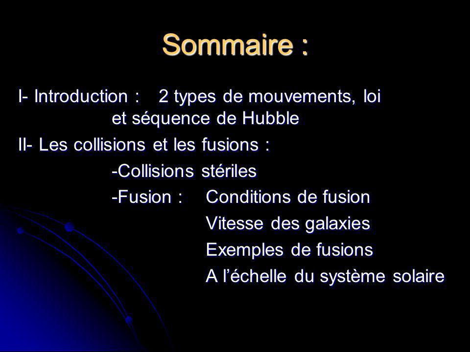Sommaire : I- Introduction :2 types de mouvements, loi et séquence de Hubble II- Les collisions et les fusions : -Collisions stériles -Fusion :Conditi