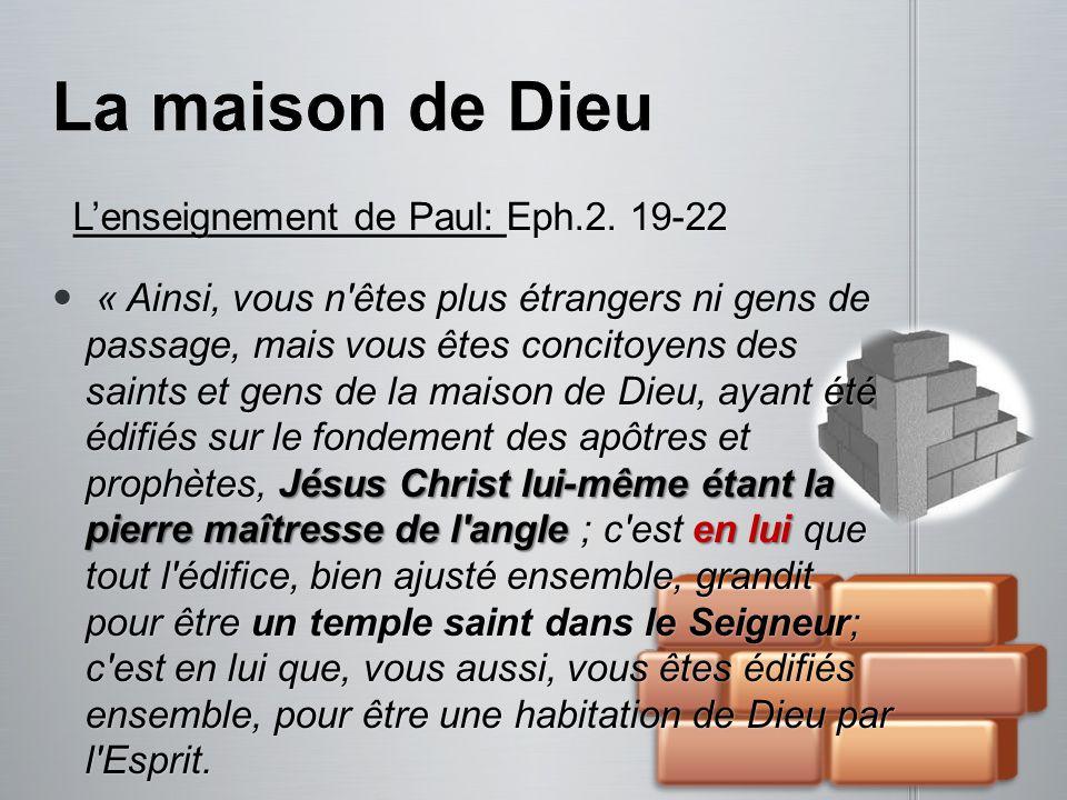 Lenseignement de Paul: Eph.2. 19-22 Lenseignement de Paul: Eph.2. 19-22 « Ainsi, vous n'êtes plus étrangers ni gens de passage, mais vous êtes concito