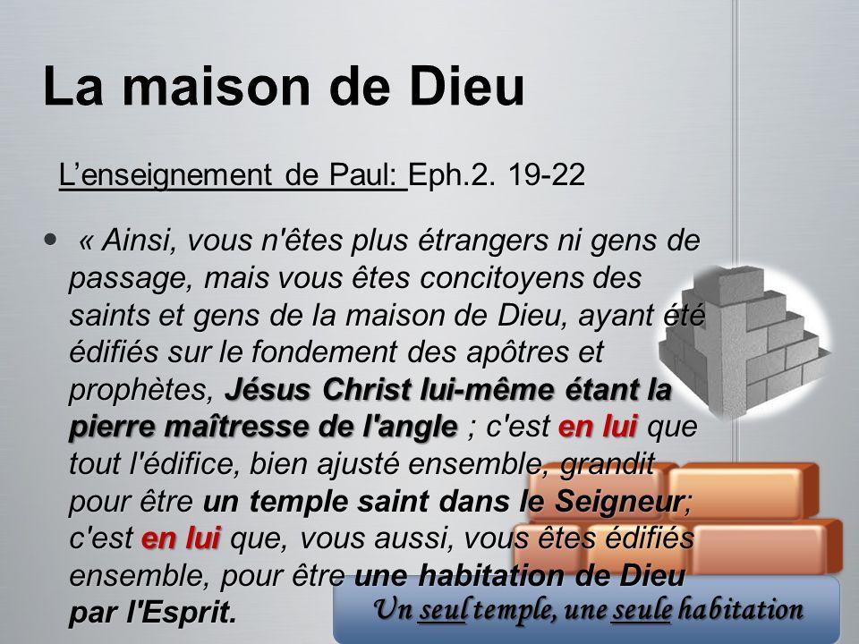 Un seul temple, une seule habitation Lenseignement de Paul: Eph.2. 19-22 Lenseignement de Paul: Eph.2. 19-22 « Ainsi, vous n'êtes plus étrangers ni ge
