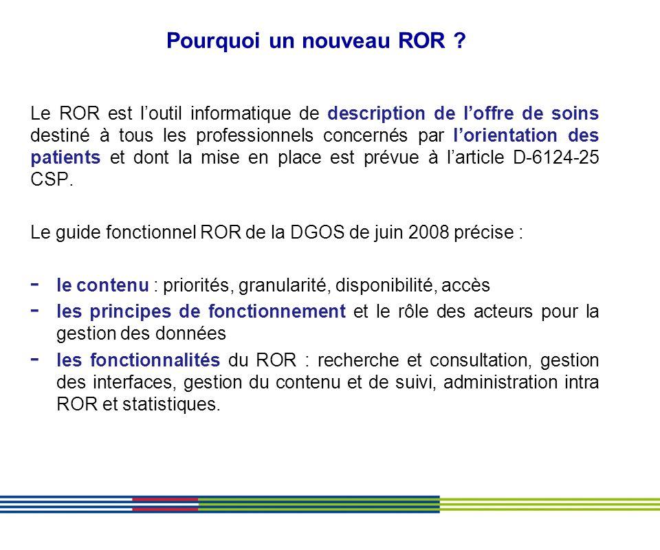 Pourquoi un nouveau ROR ? Le ROR est loutil informatique de description de loffre de soins destiné à tous les professionnels concernés par lorientatio