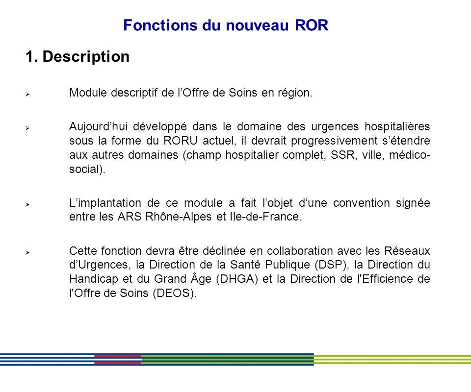 Fonctions du nouveau ROR 1. Description Module descriptif de lOffre de Soins en région. Aujourdhui développé dans le domaine des urgences hospitalière