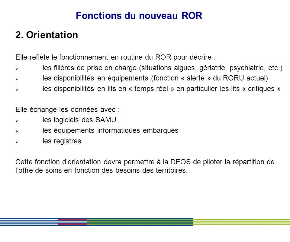 Fonctions du nouveau ROR 2. Orientation Elle reflète le fonctionnement en routine du ROR pour décrire : les filières de prise en charge (situations ai