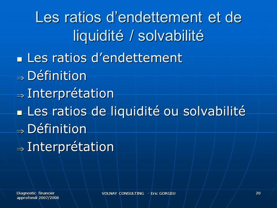Les ratios dendettement et de liquidité / solvabilité Les ratios dendettement Les ratios dendettement Définition Définition Interprétation Interprétat