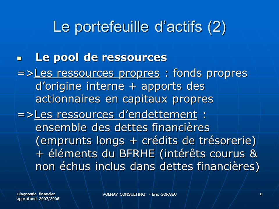 Le portefeuille dactifs (2) Le pool de ressources Le pool de ressources =>Les ressources propres : fonds propres dorigine interne + apports des action