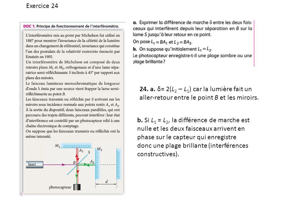 Exercice 24 24. a. δ= 2(L 2 – L 1 ) car la lumière fait un aller-retour entre le point B et les miroirs. b. Si L 1 = L 2, la différence de marche est