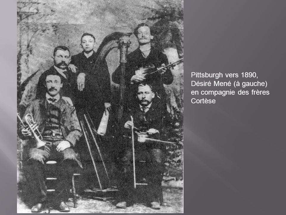Pittsburgh vers 1890, Désiré Mené (à gauche) en compagnie des frères Cortèse