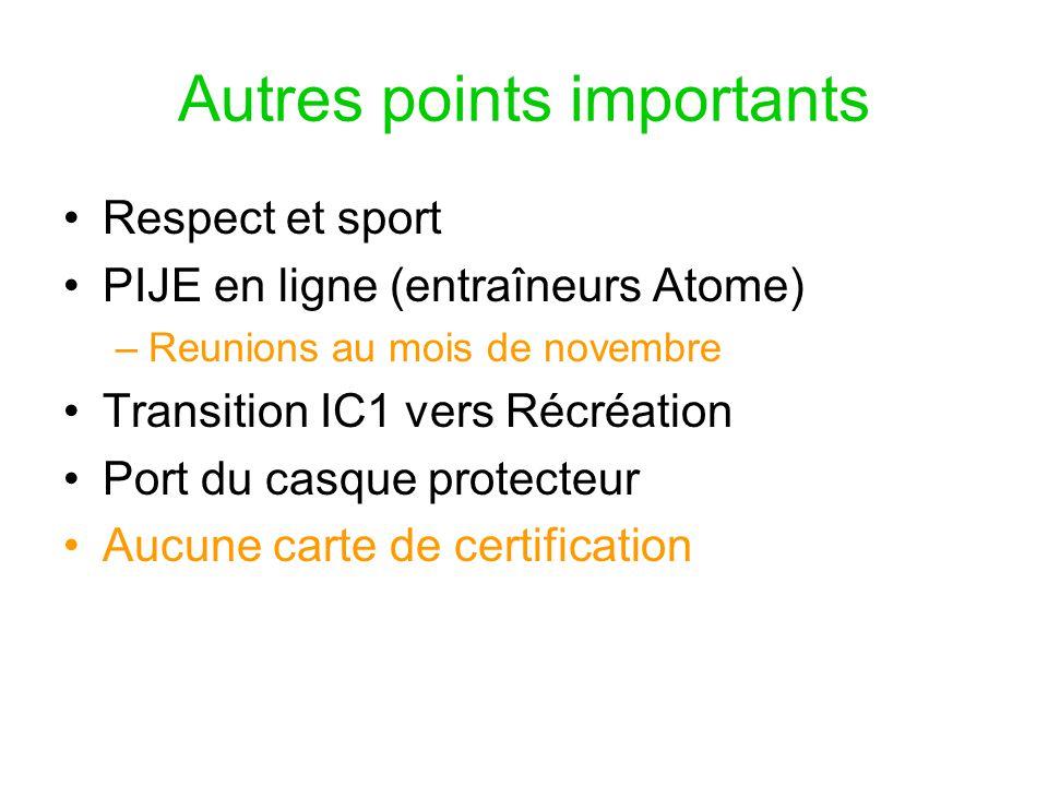 Autres points importants Respect et sport PIJE en ligne (entraîneurs Atome) –Reunions au mois de novembre Transition IC1 vers Récréation Port du casqu