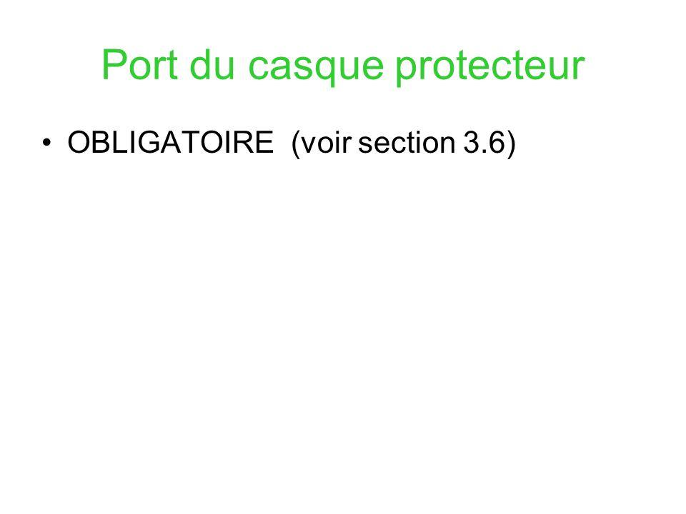 Port du casque protecteur OBLIGATOIRE (voir section 3.6)