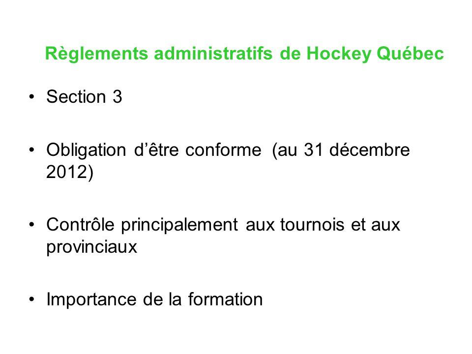 Règlements administratifs de Hockey Québec Section 3 Obligation dêtre conforme (au 31 décembre 2012) Contrôle principalement aux tournois et aux provi