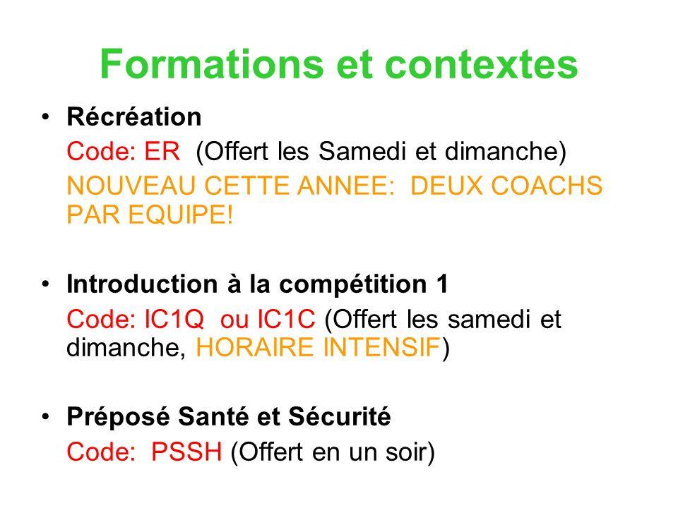 Formations et contextes Récréation Code: ER (Offert les Samedi et dimanche) NOUVEAU CETTE ANNEE: DEUX COACHS PAR EQUIPE! Introduction à la compétition