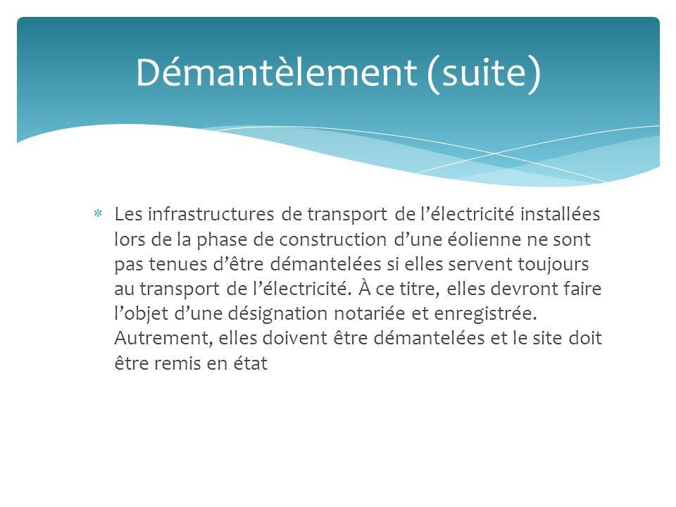 Les infrastructures de transport de lélectricité installées lors de la phase de construction dune éolienne ne sont pas tenues dêtre démantelées si elles servent toujours au transport de lélectricité.