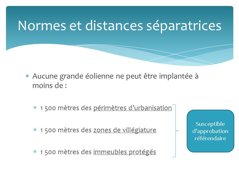 Aucune grande éolienne ne peut être implantée à moins de : 1 500 mètres des périmètres durbanisation 1 500 mètres des zones de villégiature 1 500 mètres des immeubles protégés Normes et distances séparatrices Susceptible dapprobation référendaire