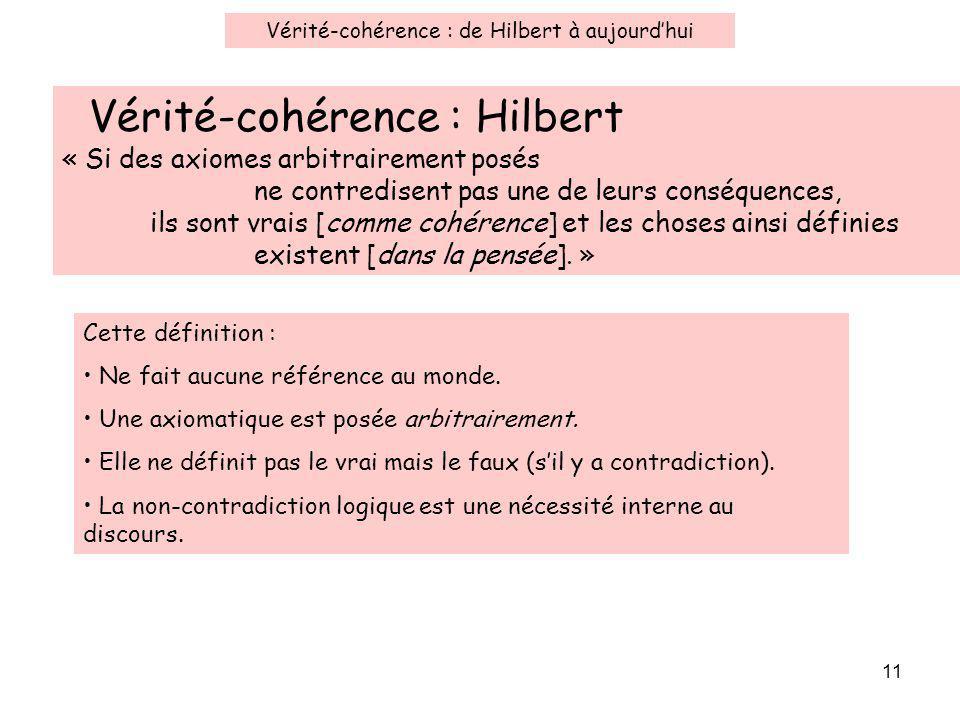 11 Vérité-cohérence : Hilbert « Si des axiomes arbitrairement posés ne contredisent pas une de leurs conséquences, ils sont vrais [comme cohérence] et les choses ainsi définies existent [dans la pensée].