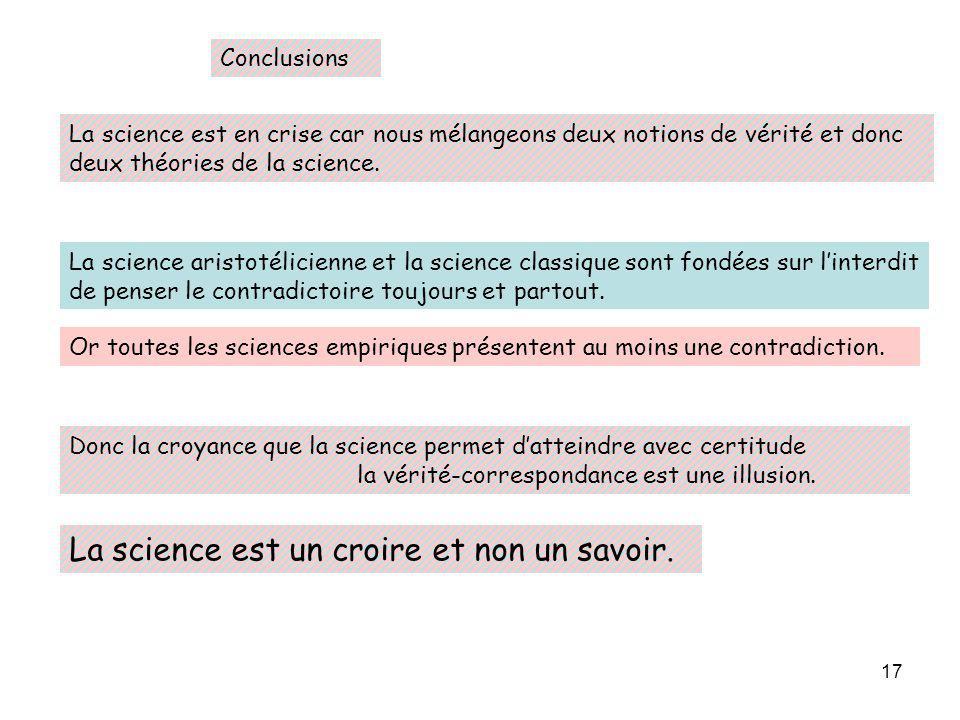 17 Conclusions La science est en crise car nous mélangeons deux notions de vérité et donc deux théories de la science. La science aristotélicienne et