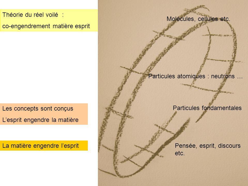 21 Théorie du réel voilé : co-engendrement matière esprit La matière engendre lesprit Les concepts sont conçus Lesprit engendre la matière Particules