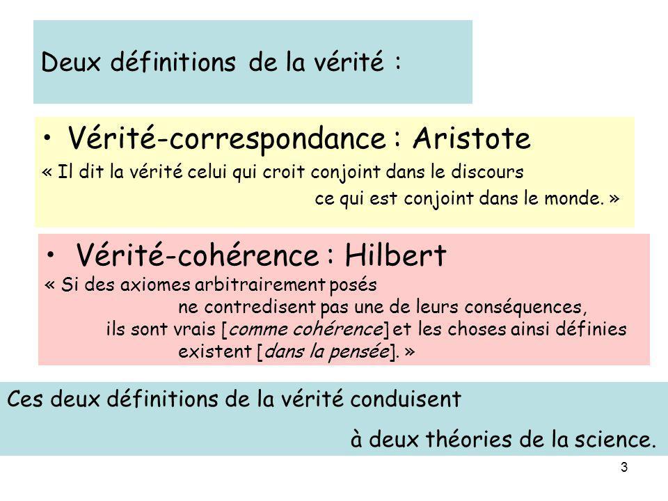 3 Ces deux définitions de la vérité conduisent à deux théories de la science. Deux définitions de la vérité : Vérité-correspondance : Aristote « Il di