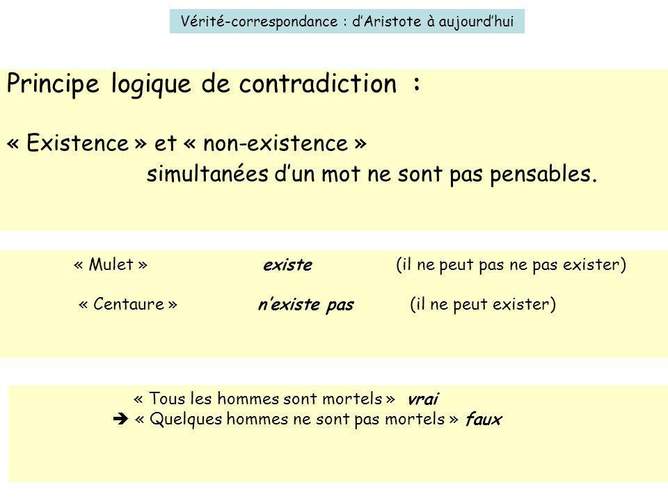 5 Vérité-correspondance : dAristote à aujourdhui Principe logique de contradiction : « Existence » et « non-existence » simultanées dun mot ne sont pa