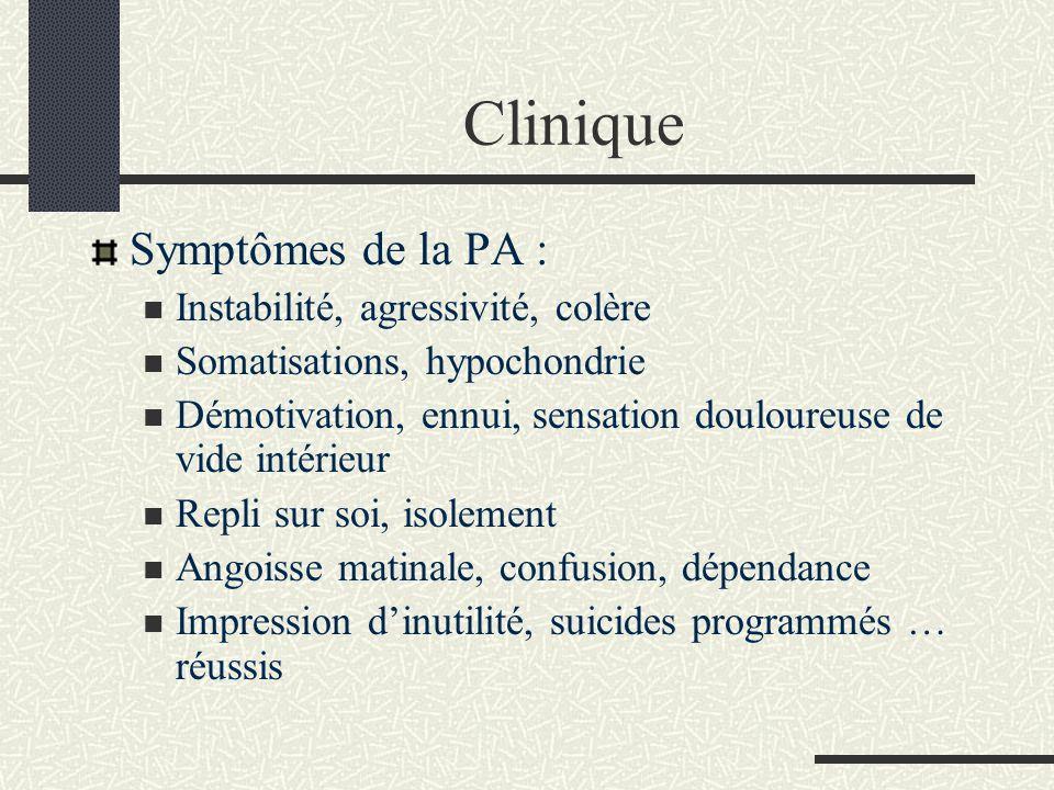 Clinique Symptômes de la PA : Instabilité, agressivité, colère Somatisations, hypochondrie Démotivation, ennui, sensation douloureuse de vide intérieu