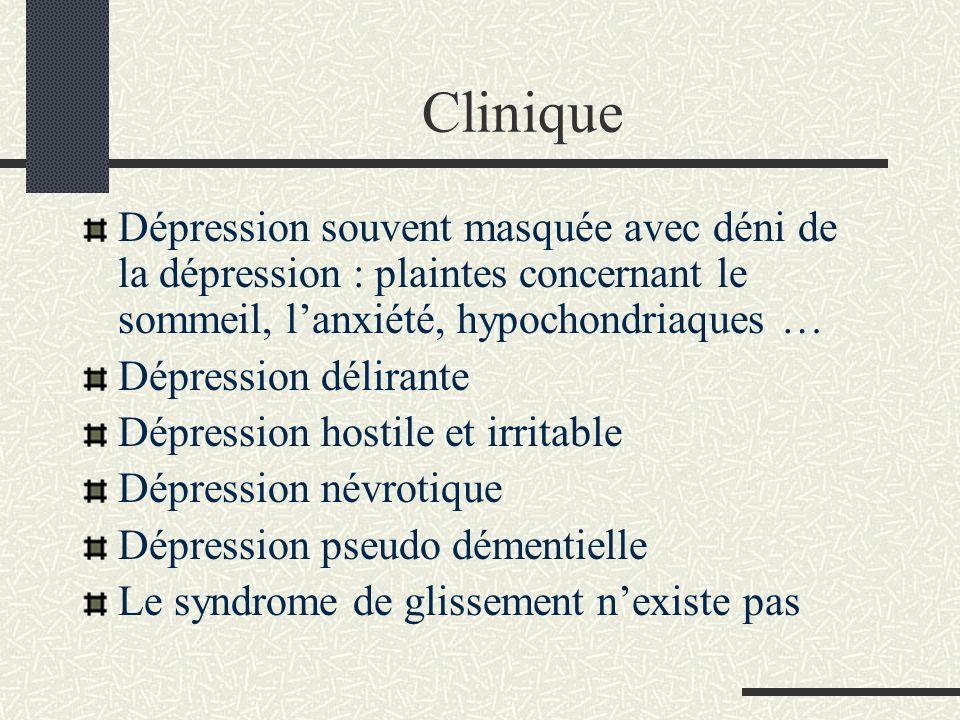 Clinique Dépression souvent masquée avec déni de la dépression : plaintes concernant le sommeil, lanxiété, hypochondriaques … Dépression délirante Dép