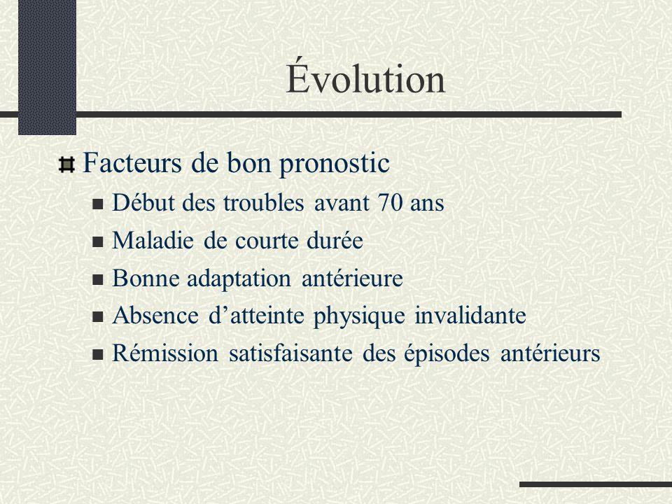 Évolution Facteurs de bon pronostic Début des troubles avant 70 ans Maladie de courte durée Bonne adaptation antérieure Absence datteinte physique inv