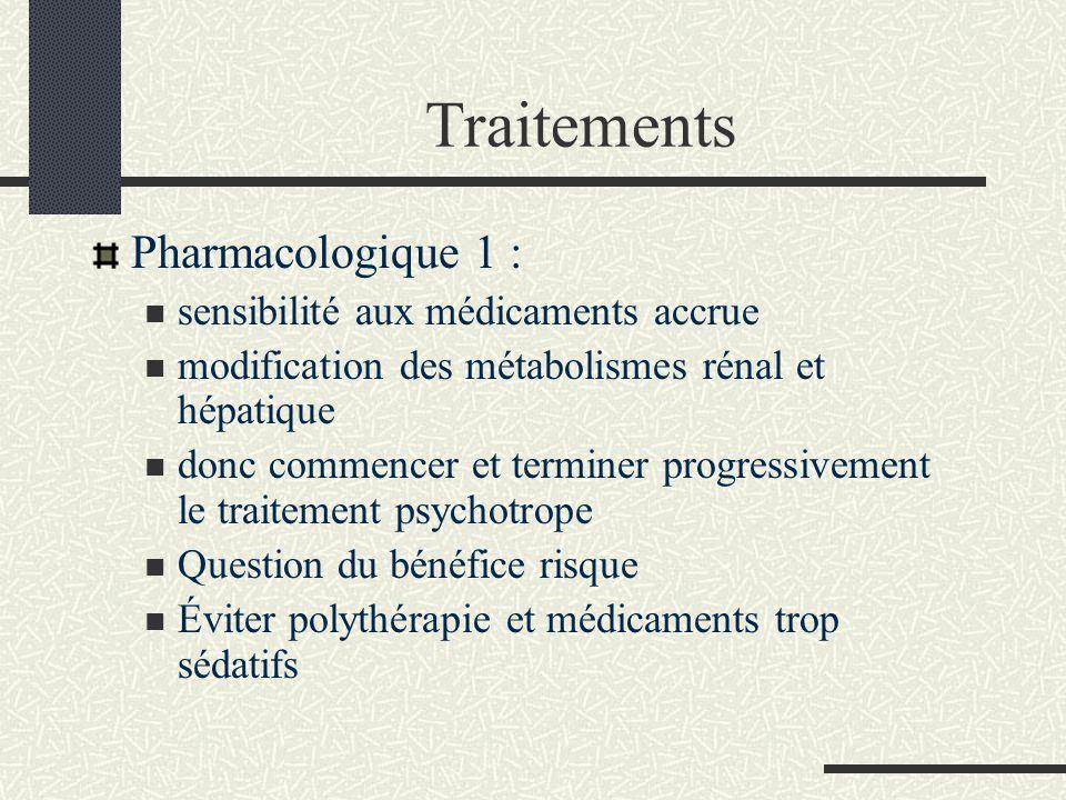 Traitements Pharmacologique 1 : sensibilité aux médicaments accrue modification des métabolismes rénal et hépatique donc commencer et terminer progres