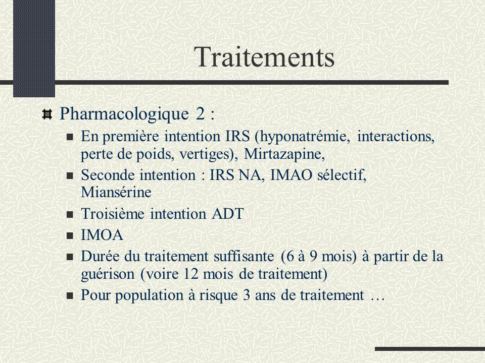 Traitements Pharmacologique 2 : En première intention IRS (hyponatrémie, interactions, perte de poids, vertiges), Mirtazapine, Seconde intention : IRS
