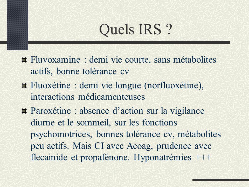 Quels IRS ? Fluvoxamine : demi vie courte, sans métabolites actifs, bonne tolérance cv Fluoxétine : demi vie longue (norfluoxétine), interactions médi
