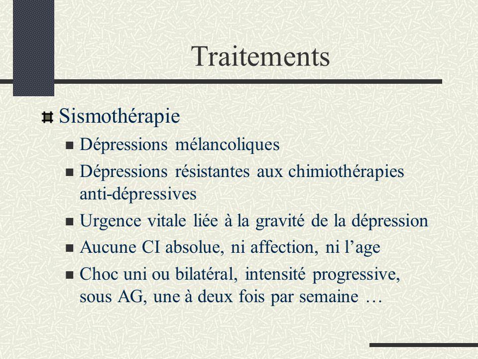 Traitements Sismothérapie Dépressions mélancoliques Dépressions résistantes aux chimiothérapies anti-dépressives Urgence vitale liée à la gravité de l