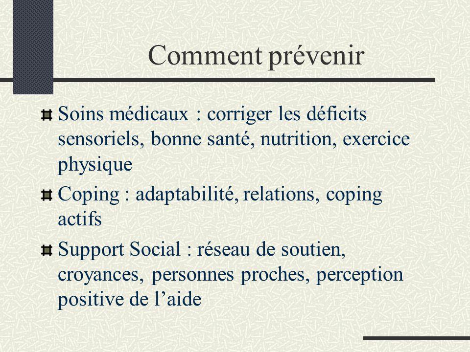 Comment prévenir Soins médicaux : corriger les déficits sensoriels, bonne santé, nutrition, exercice physique Coping : adaptabilité, relations, coping
