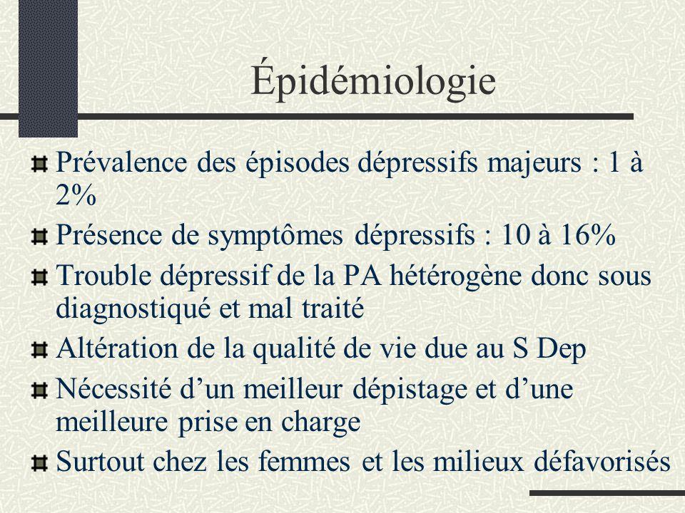 Épidémiologie Prévalence des épisodes dépressifs majeurs : 1 à 2% Présence de symptômes dépressifs : 10 à 16% Trouble dépressif de la PA hétérogène do