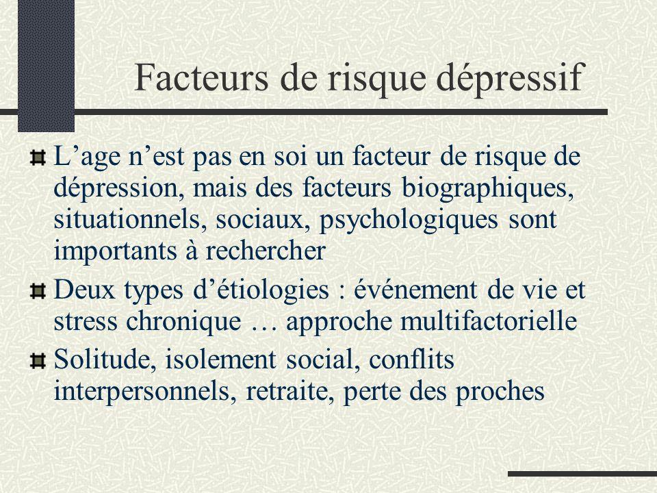 Facteurs de risque dépressif Lage nest pas en soi un facteur de risque de dépression, mais des facteurs biographiques, situationnels, sociaux, psychol