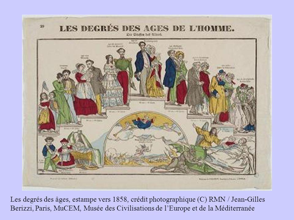 Les degrés des âges, estampe vers 1858, crédit photographique (C) RMN / Jean-Gilles Berizzi, Paris, MuCEM, Musée des Civilisations de lEurope et de la Méditerranée