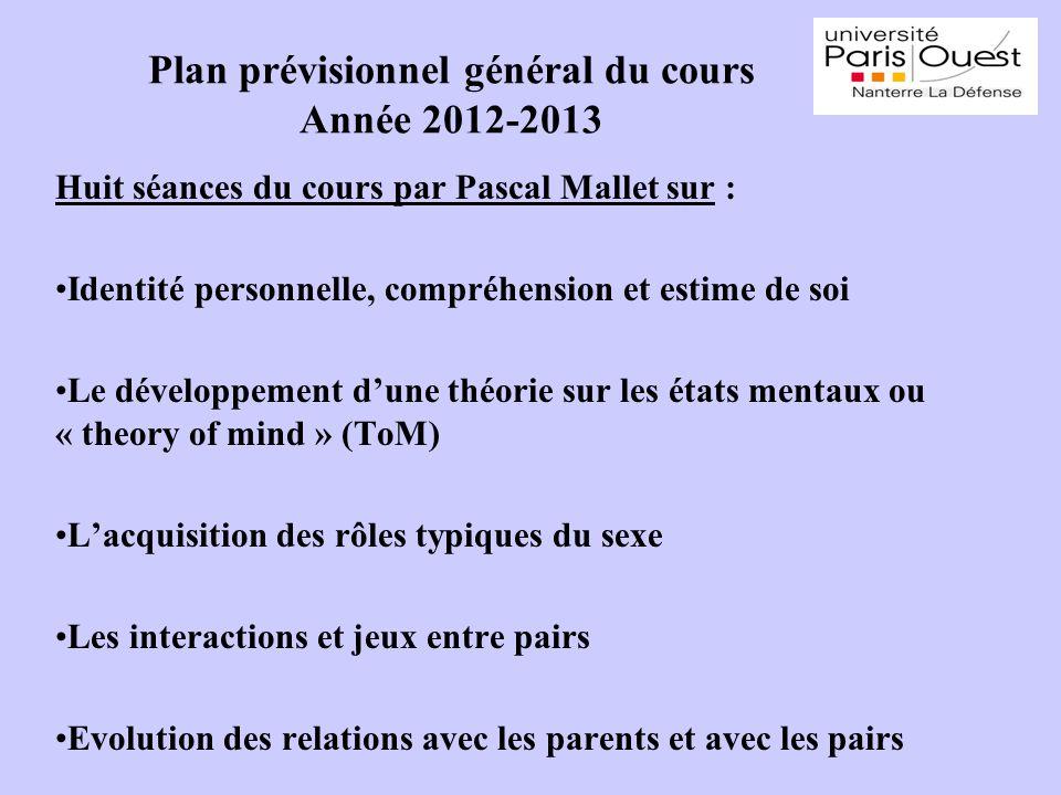 Plan prévisionnel général du cours Année 2012-2013 Huit séances du cours par Pascal Mallet sur : Identité personnelle, compréhension et estime de soi