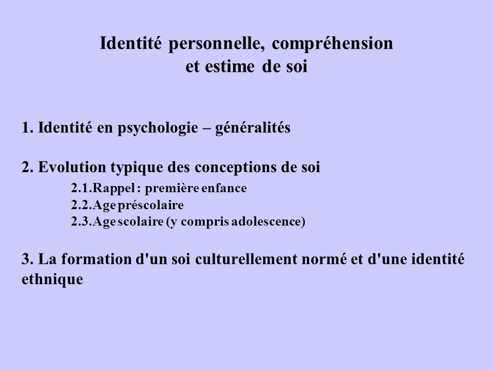 Identité personnelle, compréhension et estime de soi 1. Identité en psychologie – généralités 2. Evolution typique des conceptions de soi 2.1.Rappel :