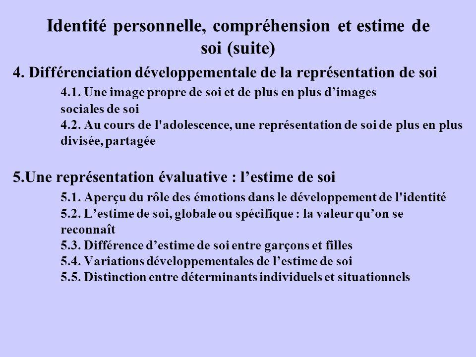 Identité personnelle, compréhension et estime de soi (suite) 4. Différenciation développementale de la représentation de soi 4.1. Une image propre de