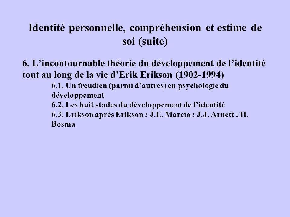 Identité personnelle, compréhension et estime de soi (suite) 6. Lincontournable théorie du développement de lidentité tout au long de la vie dErik Eri