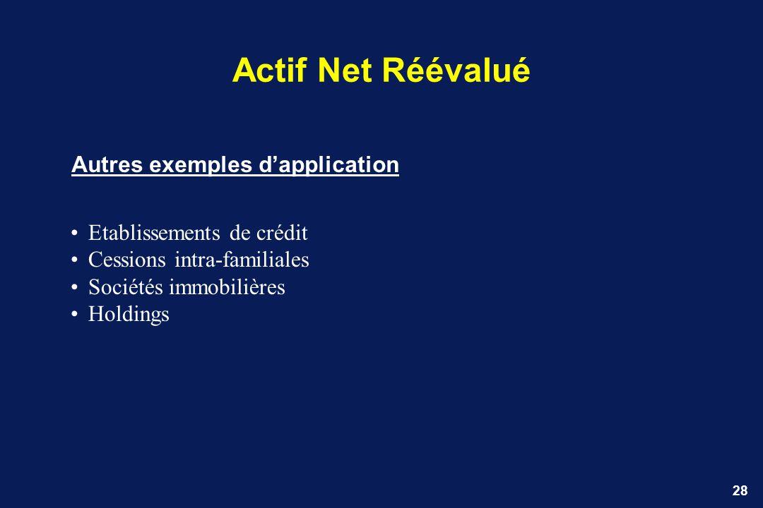 28 Actif Net Réévalué Autres exemples dapplication Etablissements de crédit Cessions intra-familiales Sociétés immobilières Holdings