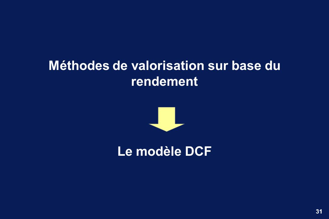 31 Méthodes de valorisation sur base du rendement Le modèle DCF