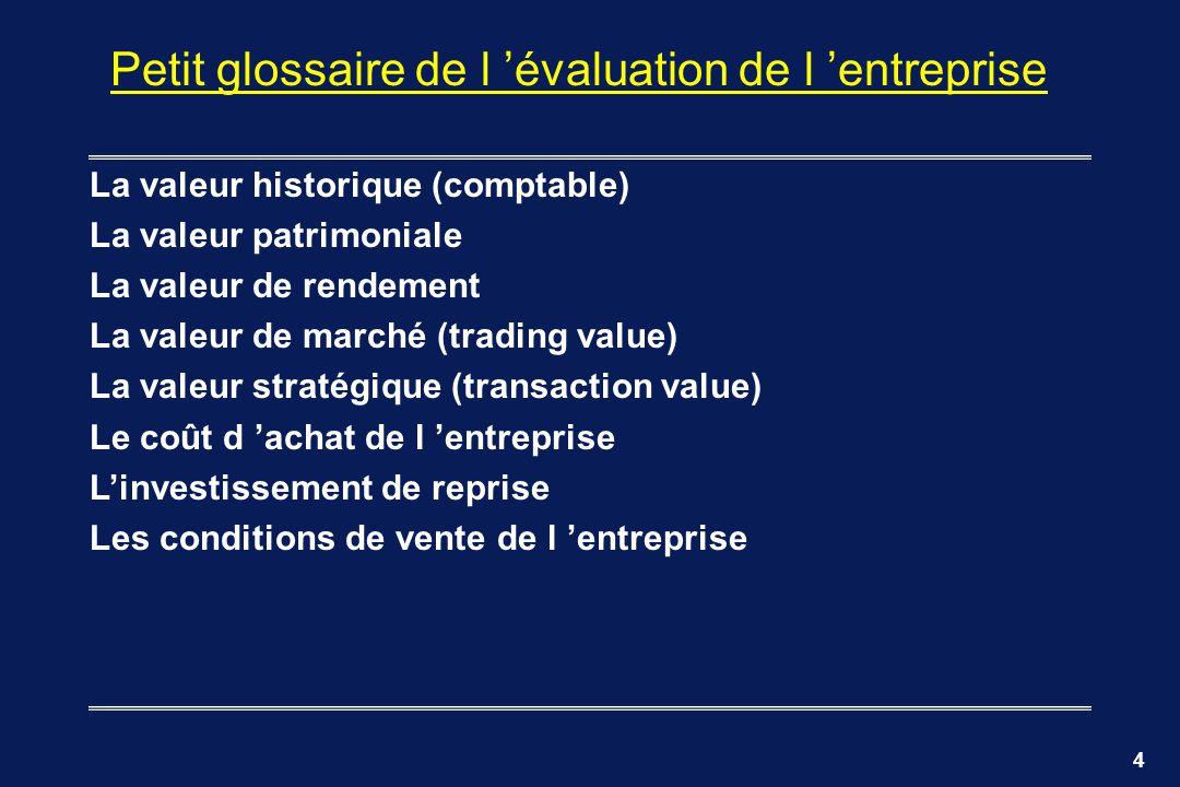 4 Petit glossaire de l évaluation de l entreprise La valeur historique (comptable) La valeur patrimoniale La valeur de rendement La valeur de marché (