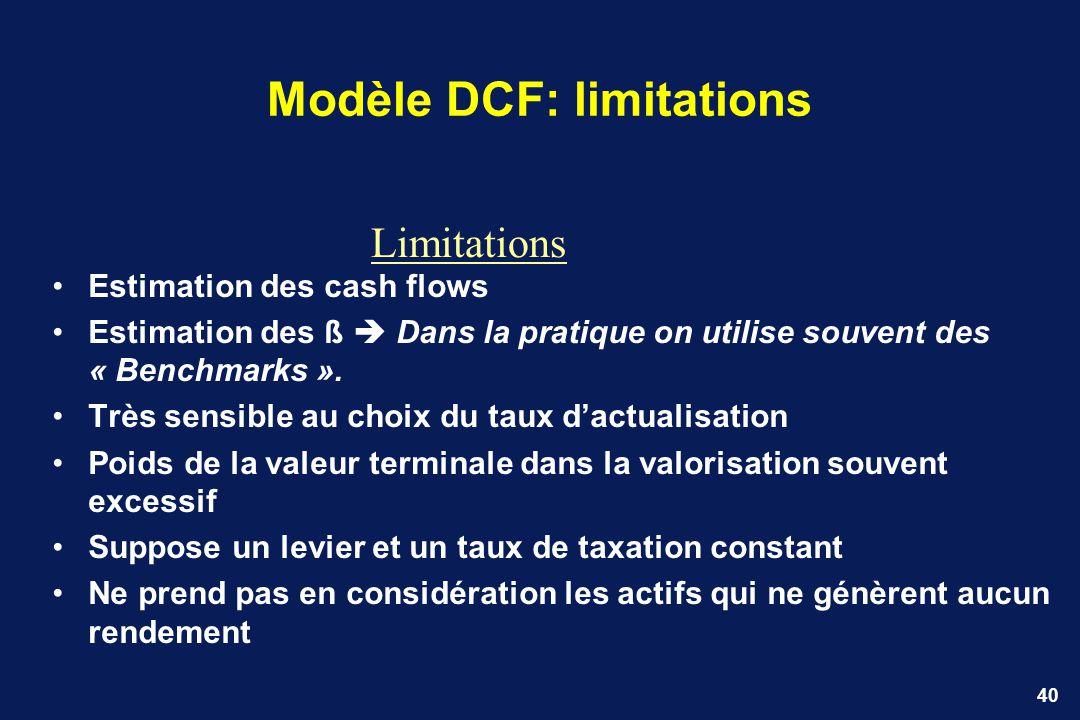 40 Modèle DCF: limitations Estimation des cash flows Estimation des ß Dans la pratique on utilise souvent des « Benchmarks ». Très sensible au choix d