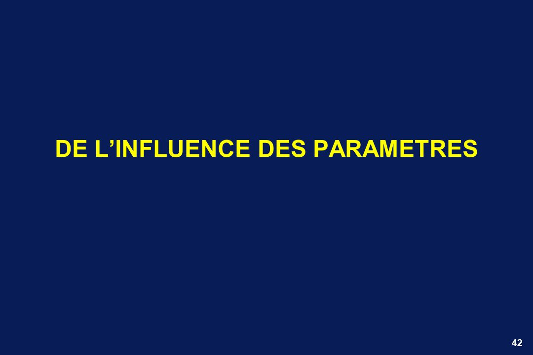 42 DE LINFLUENCE DES PARAMETRES