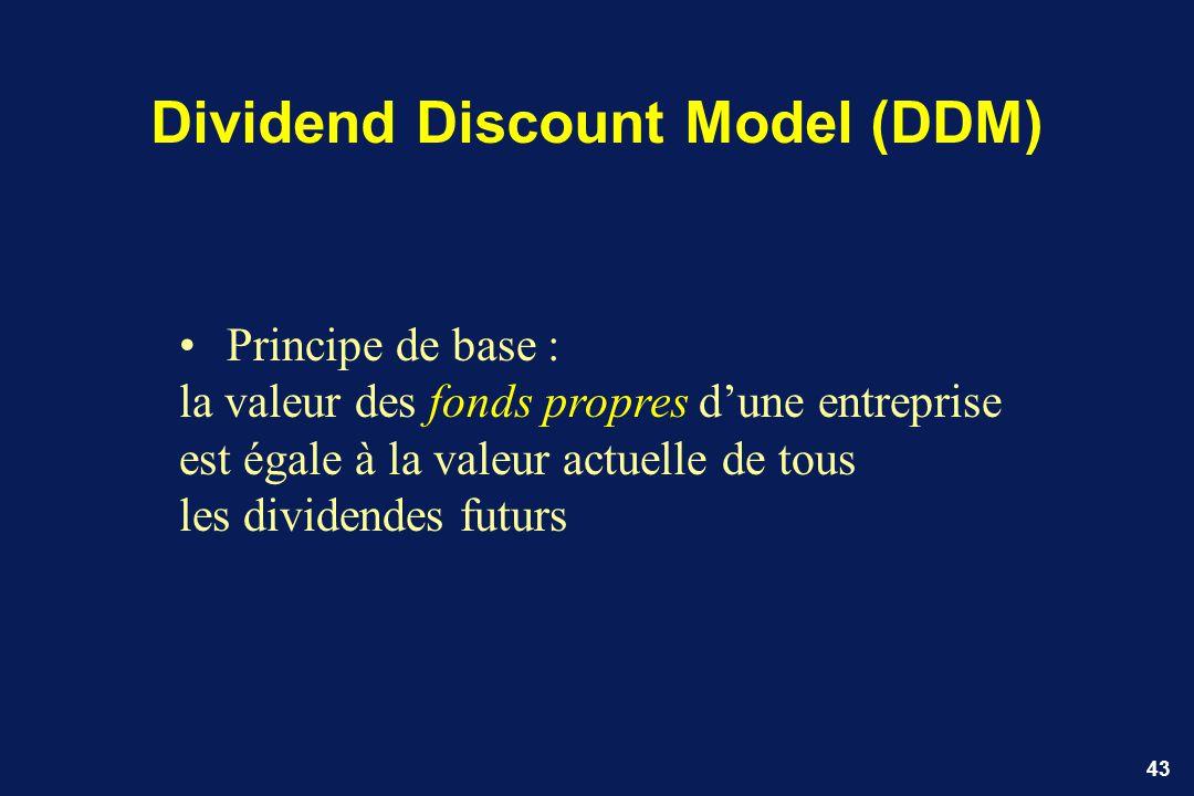 43 Dividend Discount Model (DDM) Principe de base : la valeur des fonds propres dune entreprise est égale à la valeur actuelle de tous les dividendes