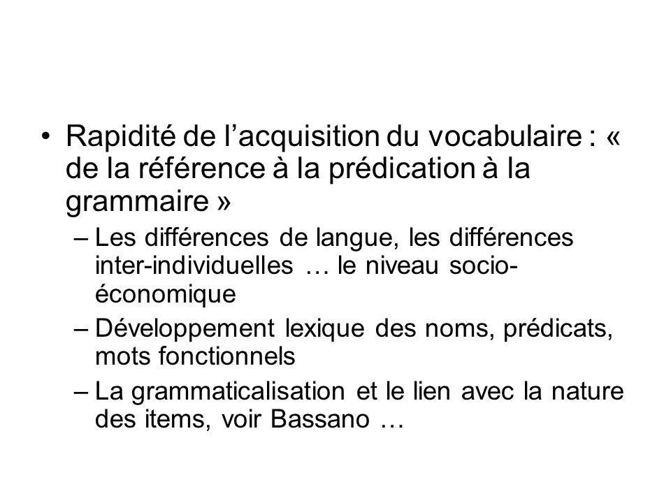Rapidité de lacquisition du vocabulaire : « de la référence à la prédication à la grammaire » –Les différences de langue, les différences inter-individuelles … le niveau socio- économique –Développement lexique des noms, prédicats, mots fonctionnels –La grammaticalisation et le lien avec la nature des items, voir Bassano …